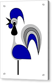 Rooster Gray Acrylic Print by Asbjorn Lonvig
