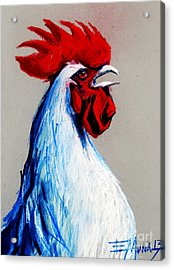 Rooster Head Acrylic Print by Mona Edulesco