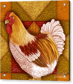 Rooster On A Quilt I Acrylic Print