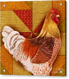 Rooster On A Quilt II Acrylic Print