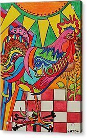Rooster On Lookout  Acrylic Print by Carol Hamby