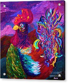 Acrylic Print featuring the painting Rooster On The Horizon by Eloise Schneider