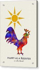 Rooster Pattern Art Acrylic Print by Christina Rollo