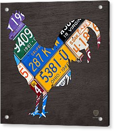 Rooster Recycled License Plate Art On Gray Wood Acrylic Print