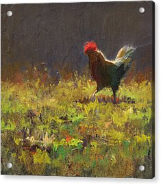 Rooster Strut - Impressionistic Chicken Landscape - Abstract Farm Art - Chicken Art - Farm Decor Acrylic Print