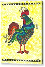 Acrylic Print featuring the painting Rooster Strutting His Stuff by Susie Weber