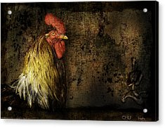 Acrylic Print featuring the mixed media Rooster With Brush Calligraphy Loyalty by Peter v Quenter