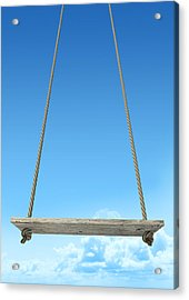 Rope Swing With Blue Sky Acrylic Print by Allan Swart