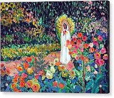 Rosa Mistica In Monet's Garden Acrylic Print