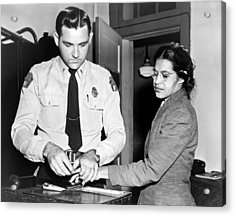 Rosa Parks Gets Fingerprinted Acrylic Print by Underwood Archives