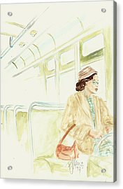 Rosa Parks Rides Acrylic Print by P J Lewis
