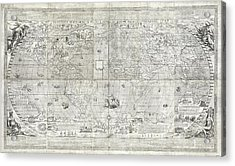 Rosaccio World Map Acrylic Print by Library Of Congress, Geography And Map Division