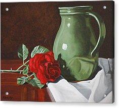 Rose And Green Jug Still Life Acrylic Print by Daniel Kansky