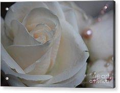 Rose And Pearls Acrylic Print by Nancy TeWinkel Lauren