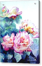 Acrylic Print featuring the painting Pink Rose Bush by Greta Corens