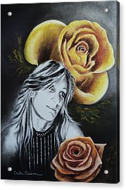 Acrylic Print featuring the drawing Rose by Carla Carson