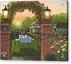 Rose Cottage - Dinner For Two Acrylic Print by Richard Harpum