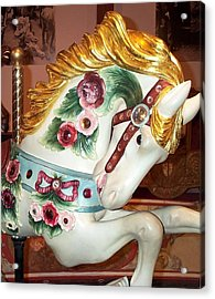 Acrylic Print featuring the photograph Rose Covered Pony by Barbara McDevitt