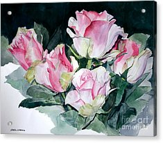 Watercolor Of A Pink Rose Bouquet Celebrating Ezio Pinza Acrylic Print