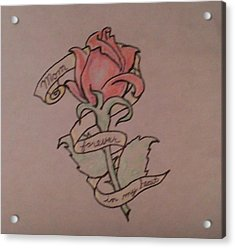 Acrylic Print featuring the drawing Rose For Mom by Thomasina Durkay