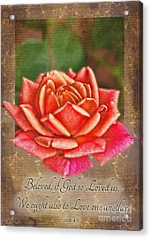 Rose Greeting Card With Verse Acrylic Print by Debbie Portwood