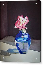 Rose In The Blue Vase II Acrylic Print by Irina Sztukowski