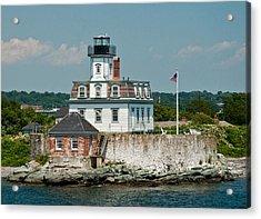 Rose Island Lighthouse Acrylic Print by Nancy De Flon