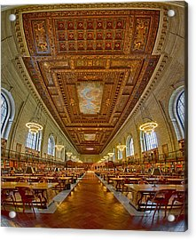 Rose Main Reading Room At The Nypl Acrylic Print by Susan Candelario