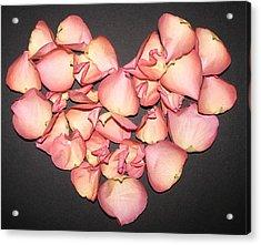Rose Petals Heart Acrylic Print by Eva Csilla Horvath