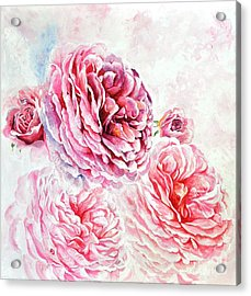 Acrylic Print featuring the painting Rose Reflection 1 by Sandra Phryce-Jones
