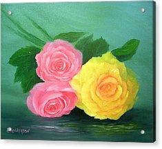 Rose Trio Acrylic Print by Francine Henderson
