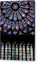 Rose Window . Famous Stained Glass Window Inside Notre Dame Cathedral. Paris Acrylic Print by Bernard Jaubert