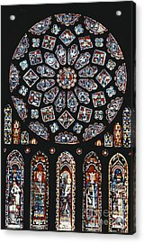 Rose Window At Chartres Cathedral Acrylic Print by Explorer