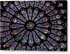 Rose Window .famous Stained Glass Window Inside Notre Dame Cathedral. Paris Acrylic Print by Bernard Jaubert