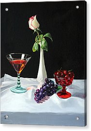 Rose Wine And Fruit Acrylic Print by Glenn Beasley