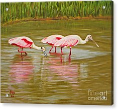 Acrylic Print featuring the painting Roseatte Spoonbill Party by Jimmie Bartlett