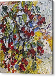 Acrylic Print featuring the painting Rosehips Modern Impressionist Oil Painting by Ginette Callaway