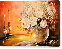 Roses And Candlelight Acrylic Print