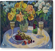 Roses And Chardonnay Acrylic Print