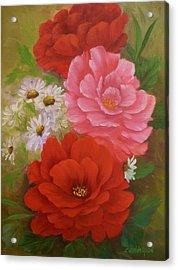 Roses And Daisies Acrylic Print