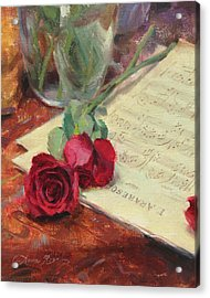 Roses And Debussy Acrylic Print by Anna Rose Bain