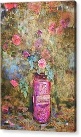 Roses And Fire Hydrant Acrylic Print