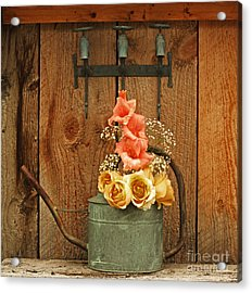Acrylic Print featuring the photograph Roses And Gladiolus  by Marjorie Imbeau