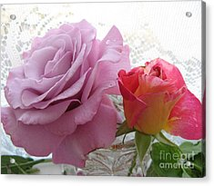 Roses And Lace Acrylic Print by Marlene Rose Besso