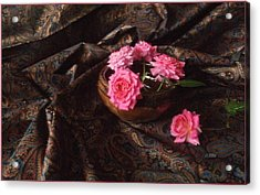 Roses And Paisley Acrylic Print