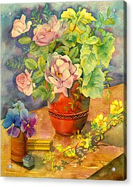 Roses And Pansies Acrylic Print by Julia Rowntree