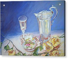 Roses And Tea Acrylic Print by Patricia Kimsey Bollinger