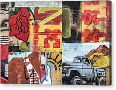 Acrylic Print featuring the mixed media Roses And Trucks by Terry Rowe