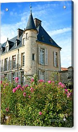 Roses At The Castle Acrylic Print by Olivier Le Queinec