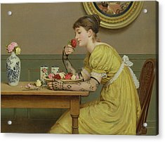 Roses Acrylic Print by George Dunlop Leslie
